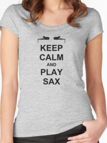 Play Sax (Black) Women's Fitted Scoop T-Shirt