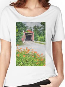 Covered Bridge and Orange Roadside Lilies Women's Relaxed Fit T-Shirt