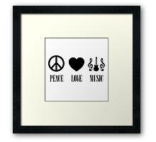 peace Love Music (Black) Framed Print
