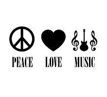 peace Love Music (Black) Photographic Print