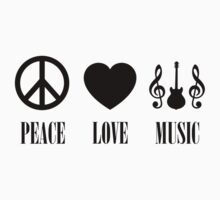 peace Love Music (Black) Kids Tee