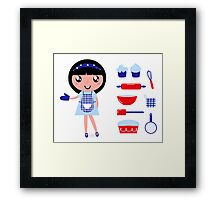 Cute retro cooking woman with various kitchen items Framed Print