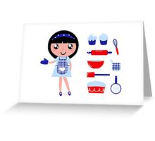 Cute retro cooking woman with various kitchen items Greeting Card