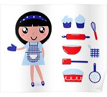 Cute retro cooking woman with various kitchen items Poster