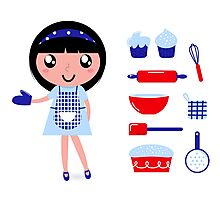 Cute retro cooking woman with various kitchen items Photographic Print