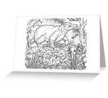 Badger Black on White Greeting Card