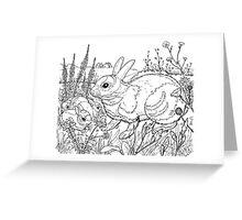 Rabbit Black on White Greeting Card