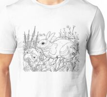 Rabbit Black on White Unisex T-Shirt