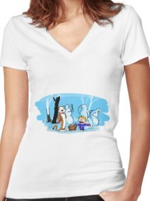 calvin and hobbes with snowman Women's Fitted V-Neck T-Shirt