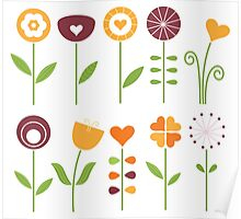 Hand drawn flowers set - orange, brown and green Poster