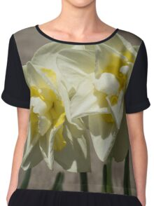 Pastel Yellow Spring - a Pair of Double Daffodils Chiffon Top