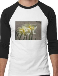Pastel Yellow Spring - a Pair of Double Daffodils Men's Baseball ¾ T-Shirt
