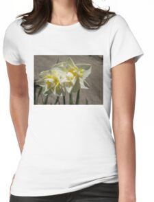 Pastel Yellow Spring - a Pair of Double Daffodils Womens Fitted T-Shirt