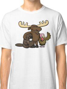 A moose, beaver and turkey walk into a bar... Classic T-Shirt