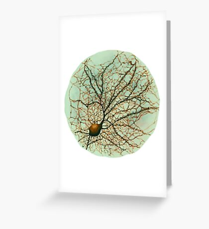 Dendritic tree and spines of an hippocampal neuron - watercolor - green Greeting Card