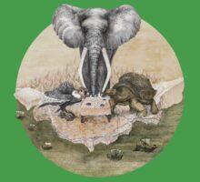 Elephant turtle condor tea time Baby Tee