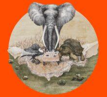 Elephant turtle condor tea time Kids Tee