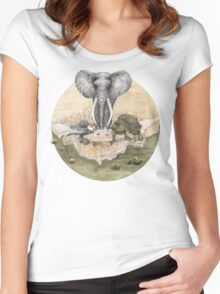Elephant turtle condor tea time Women's Fitted Scoop T-Shirt