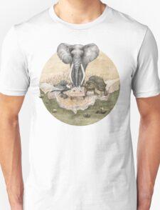Elephant turtle condor tea time Unisex T-Shirt