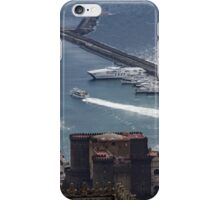Naples Distinctive Harbor in Silver and Blue - Castles and Cruise Ships From Above iPhone Case/Skin