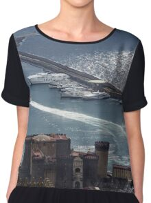 Naples Distinctive Harbor in Silver and Blue - Castles and Cruise Ships From Above Chiffon Top