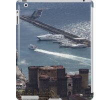 Naples Distinctive Harbor in Silver and Blue - Castles and Cruise Ships From Above iPad Case/Skin