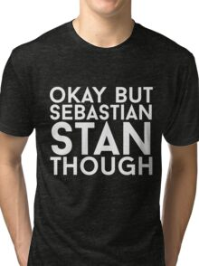 Sebastian Stan - White Text Tri-blend T-Shirt