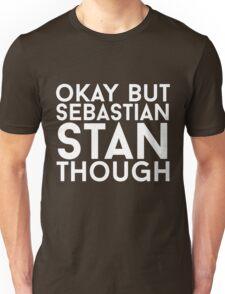 Sebastian Stan - White Text Unisex T-Shirt