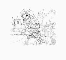 Barn Owl Black on White Unisex T-Shirt