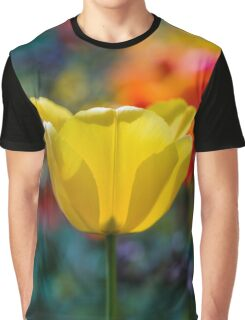 A yellow tulip flower set against a colourful background Graphic T-Shirt