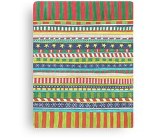 christmasy doodle stripes Canvas Print