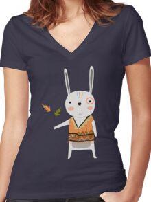 Cartoon Animals Tribal Bunny Rabbit Women's Fitted V-Neck T-Shirt