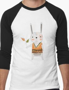 Cartoon Animals Tribal Bunny Rabbit Men's Baseball ¾ T-Shirt