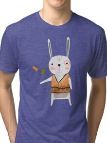 Cartoon Animals Tribal Bunny Rabbit Tri-blend T-Shirt