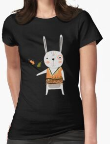 Cartoon Animals Tribal Bunny Rabbit Womens Fitted T-Shirt