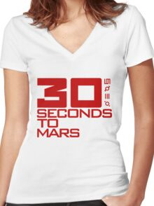 30 seconds to mars  Women's Fitted V-Neck T-Shirt