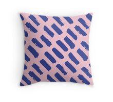 Paint Brush Stroke Pattern - Blue & Pink Throw Pillow