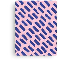 Paint Brush Stroke Pattern - Blue & Pink Canvas Print