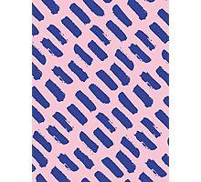 Paint Brush Stroke Pattern - Blue & Pink Photographic Print