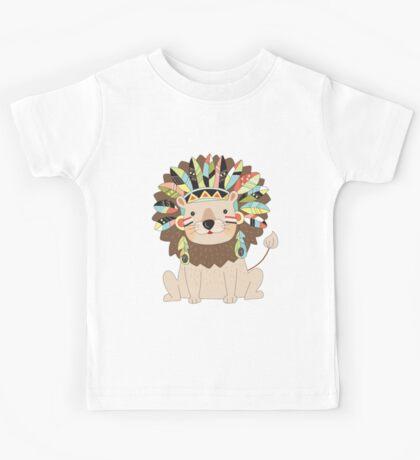 Cartoon Wild Animals Tribal Lion Kids Tee