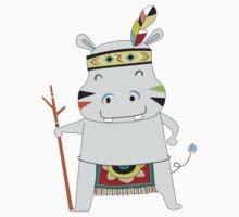 Cartoon Animals Tribal Hippopotamus One Piece - Short Sleeve