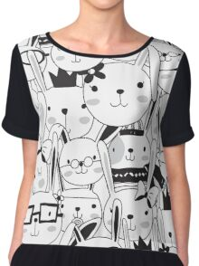 Cute Cartoon Animals So Many Bunny Rabbits Chiffon Top