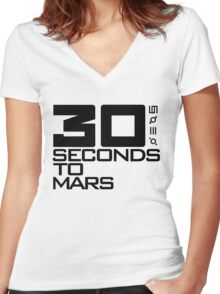 30 seconds to mars black Women's Fitted V-Neck T-Shirt