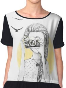 Girl with vintage camera Chiffon Top