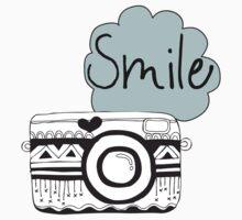 Vintage Retro Camera Smile Kids Tee