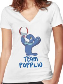 #TeamPopplio Women's Fitted V-Neck T-Shirt