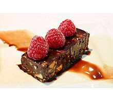 Chocolate Brownie & Fresh Raspberries Photographic Print