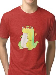 Flower Crown Watercolor Dino Tri-blend T-Shirt
