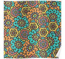 doodle floral colorful pattern Poster