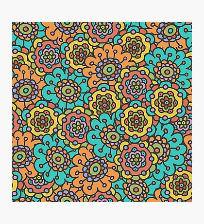 doodle floral colorful pattern Photographic Print